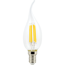 Лампа светодиодная Ecola candle   LED  5,0W  220V E14 4000K 360° filament прозр. нитевидная свеча на ветру (Ra 80, 100 Lm/W) 125х37