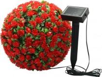 """Садовая фигура на солнечной батарее Feron """"Цветочный шар"""", красный, E5209"""